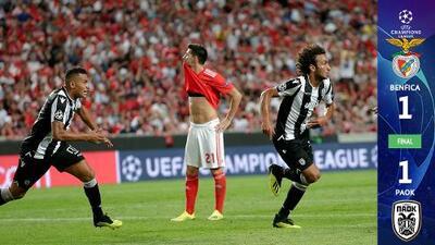 El PAOK aprovechó la desidia del Benfica y se lleva un valioso empate