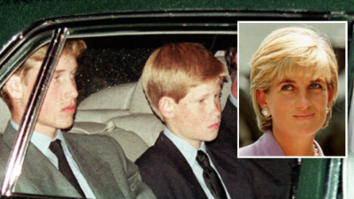 Los príncipes William y Harry reviven el dolor del sepelio de Lady Di en su tumba