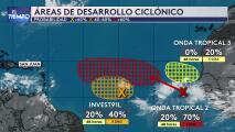 Tres áreas de desarrollo ciclónico en el Atlántico están bajo monitoreo