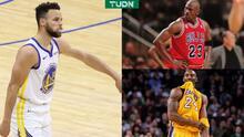 Curry destroza récords de Kobe Bryant y Michael Jordan