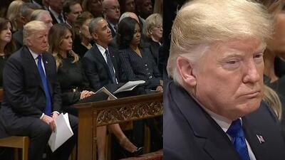 A Donald Trump le tocó el asiento más incómodo en el funeral de George Bush padre