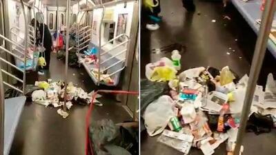 """""""Dejaron ese vagón como un vertedero"""": Mira las impresionantes imágenes de este 'Subway' lleno de basura"""
