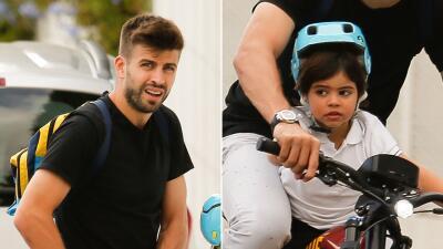 Piqué lleva a Milan en bicicleta del Barcelona