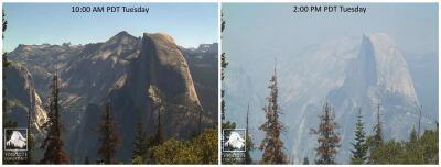 En fotos: Las llamas de un voraz incendio se acercan al Parque Nacional Yosemite