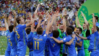 La celebración del campeón: Ucrania y su alegría por lograr el Mundial Sub-20