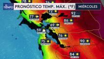 Se espera un miércoles con temperaturas variadas entre los 60º F y los 90º F en el Área de la Bahía