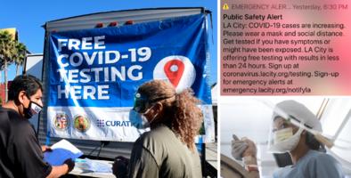 """Alerta covid-19: Los Ángeles lanza sistema de notificaciones ante """"preocupantes"""" cifras de contagios"""