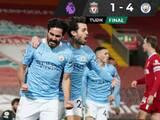 El City goleó al Liverpool y domina la Premier League
