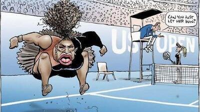 """Critican a un caricaturista por dibujo """"racista"""" de Serena Williams"""