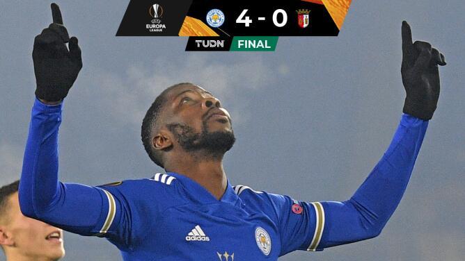 Con doblete de Iheanacho, Leicester City goleó al Braga