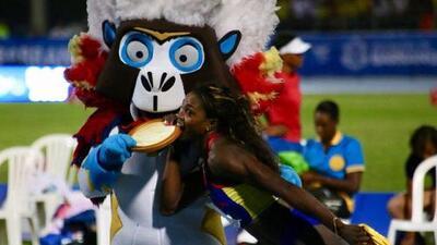 La reina colombiana del salto, Caterine Ibargüen, gana su primer oro en Barranquilla