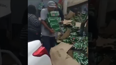 Beer truck crash becomes a free for all