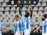 Con el Chucky, Napoli venció al Torino y entra a puestos de Champions