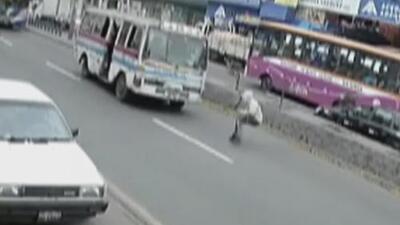Huía a toda velocidad tras cometer un robo pero un autobús lo atropelló