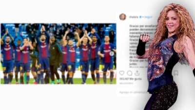 """Shakira intenta subirle el ánimo a los jugadores del Barcelona """"en este día gris"""""""