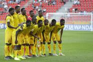 Mali players pose for a team picture before the quarter final match between Italy and Mali at the U20 World Cup soccer in Tychy, Poland, Friday, June 7, 2019. (AP Photo/Sergei Grits)