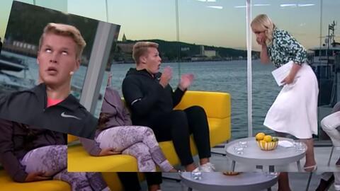 VIDEO: Presentadora de televisión vomita sobre invitado en vivo