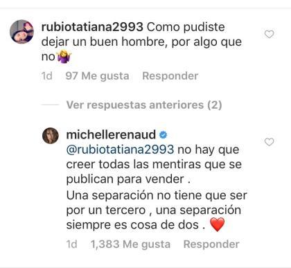 """En el proceso, hubo una seguidora que a través de las redes sociales le reclamó a Michelle Renaud por """"dejar"""" a Josúe Alvarado por algiuien más."""
