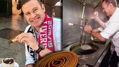 Alan no solo visitó la chocolatería más famosa de Madrid, también le tocó preparar los churros