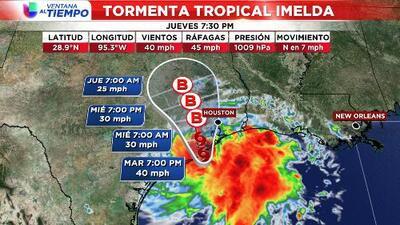 Se forma la tormenta tropical Imelda en el Golfo de México, frente a las costas de Texas