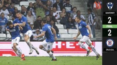 ¡De último minuto! Cruz Azul rescata el empate ante Monterrey
