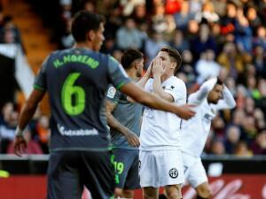 En fotos: Héctor Moreno estuvo en cancha en empate de Real Sociedad de visita a Valencia