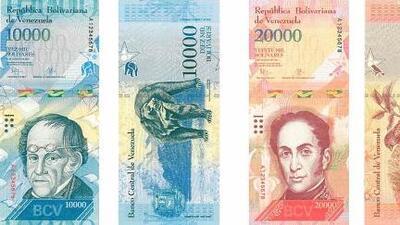Ante la devaluación y escasez de efectivo, Venezuela saca billetes de hasta 20,000 bolívares