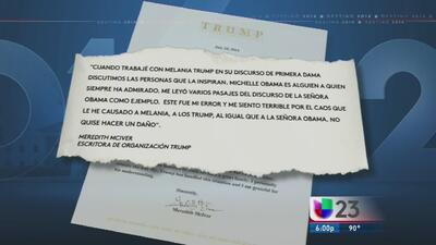 Autora del discurso de Melania Trump admite plagio del de Michelle Obama