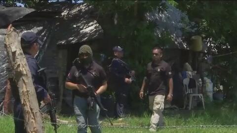 Policías mexicanos custodian el área de Veracruz donde encontraron fosas con cientos de cadáveres