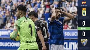Real Oviedo empata ante Málaga con Oswaldo Alanís durante los 90 minutos