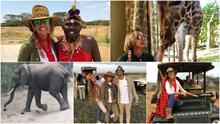 A Lili Estefan las jirafas le robaron el desayuno y casi es atacada por un elefante en Kenia