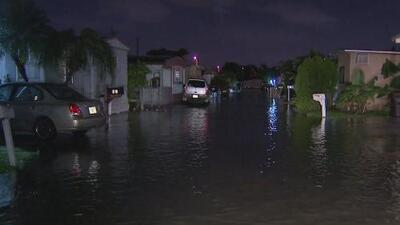 Fuertes lluvias causan inundaciones en un parque de casas móviles de Hialeah