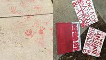 Activistas dejan carteles y manchan acercas en la casa de concejal de Bakersfield