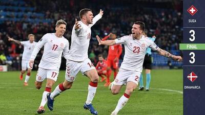 ¡De locos! Dinamarca anota tres goles en los últimos 10 minutos y le empata a Suiza