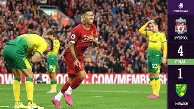 Liverpool arrasa en arranque de la Premier y vence a Norwich