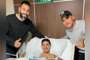 Jugadores del América visitaron a Chucho López tras lesión ante el Olimpia