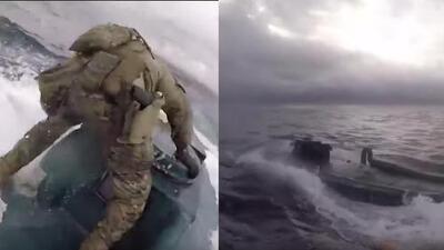 (Video) En persecución de película, guardia costera intercepta un narcosubmarino que transportaba 17 mil libras de droga