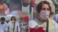 Estuvo batallando contra el coronavirus por seis meses: así la recibieron sus hijos a la salida del hospital