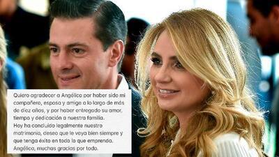 Con un mensaje austero, Peña Nieto anuncia su divorcio y se despide de la 'Gaviota'