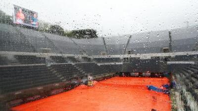 La lluvia aplaza los estrenos de Federer, Nadal y Djokovic en Roma