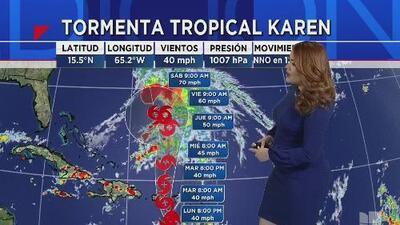 Tormenta tropical Karen avanza con vientos máximos de 40 millas por hora