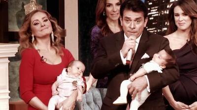 Jorge Salinas sorprendió a Elizabeth Álvarez al llegar con sus gemelos y la hizo llorar