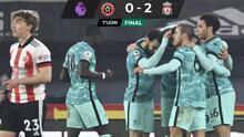 El Liverpool vence al Sheffield y corta racha de cuatro derrotas