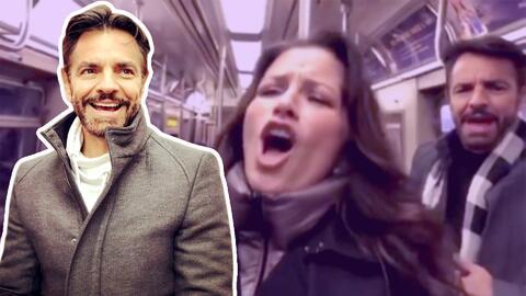 Ni te imaginas el reto que le lanzó Eugenio Derbez a Alessandra Rosaldo en el tren de NYC