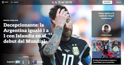 Messi es señalado por la prensa mundial tras empate de Argentina contra Islandia