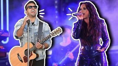 Estilo superhéroe Luis Fonsi 'aterriza' en la tarima de Demi Lovato para cantar por primera vez en vivo 'Échame la culpa'