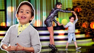 Mateo se pone en los zapatos de los bailarines y le saca brillo a la pista de Pequeños Gigantes