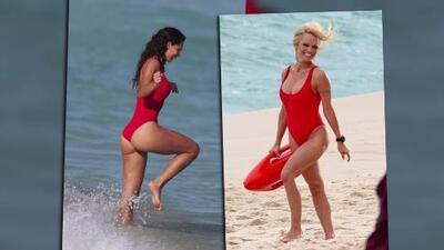 Raffaella Modugno sexy al estilo de Baywatch