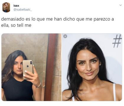 """La joven publicó en Twitter una selfie y a su lado, una fotografía de la actriz mexicana. """"Demasiado es lo que me han dicho que me parezco a ella, so tell me (díganme)"""", comentó."""