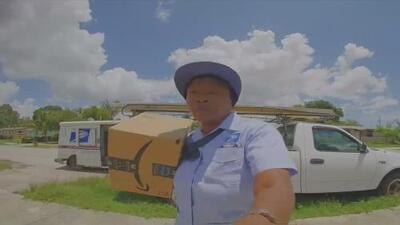 Captan a una empleada del Servicio Postal lanzando paquetes sobre la cerca en una casa en Florida
